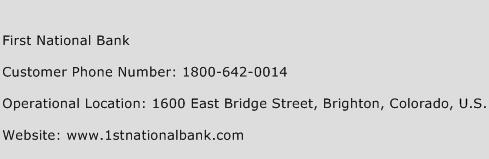First National Bank Phone Number Customer Service