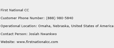 First National CC Phone Number Customer Service