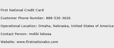 First National Credit Card Phone Number Customer Service