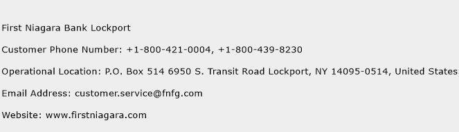 First Niagara Bank Lockport Phone Number Customer Service
