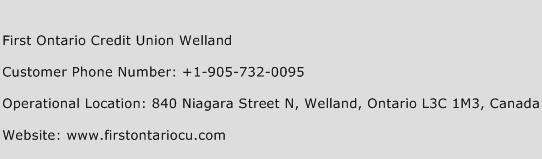 First Ontario Credit Union Welland Phone Number Customer Service