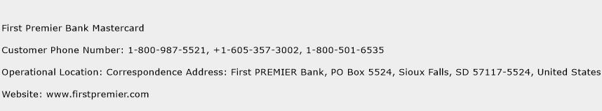 First Premier Bank Mastercard Phone Number Customer Service