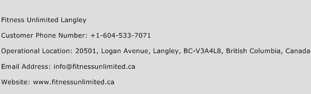 Fitness Unlimited Langley Phone Number Customer Service
