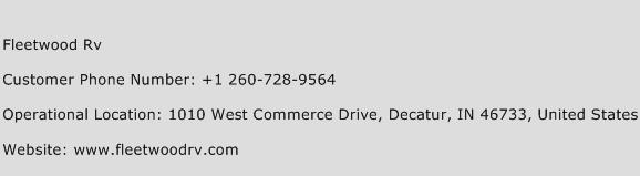 Fleetwood Rv Phone Number Customer Service