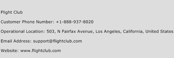 Flight Club Phone Number Customer Service