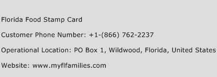 Florida Food Stamp Card Phone Number Customer Service