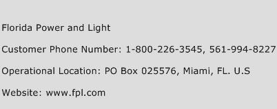 Florida Power and Light Phone Number Customer Service