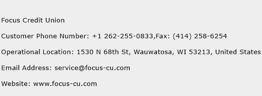 Focus Credit Union Phone Number Customer Service