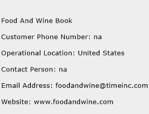 Food And Wine Book Phone Number Customer Service