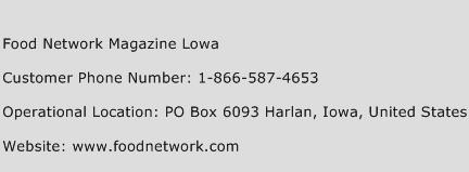Food Network Magazine Lowa Phone Number Customer Service
