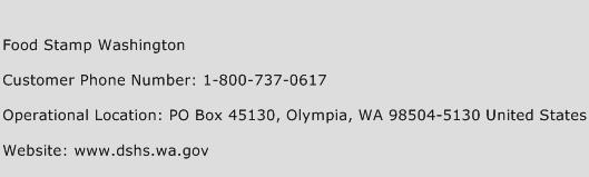 Food Stamp Washington Phone Number Customer Service