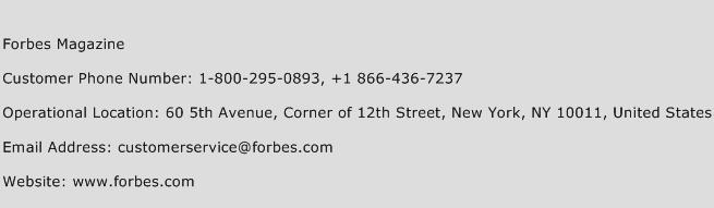 Forbes Magazine Phone Number Customer Service