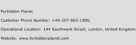 Forbidden Planet Phone Number Customer Service