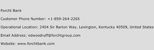 Forcht Bank Phone Number Customer Service