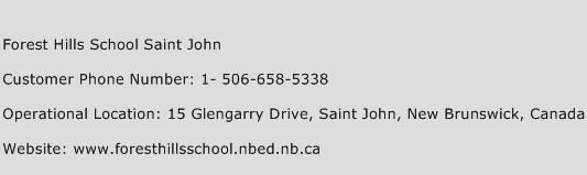 Forest Hills School Saint John Phone Number Customer Service
