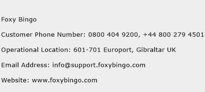 Foxy Bingo Phone Number Customer Service