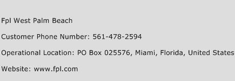 Fpl West Palm Beach Phone Number Customer Service