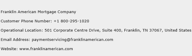 Franklin American Mortgage Company Phone Number Customer Service