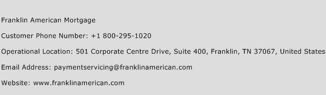 Franklin American Mortgage Phone Number Customer Service