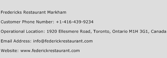 Fredericks Restaurant Markham Phone Number Customer Service