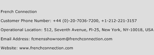 French Connection Phone Number Customer Service