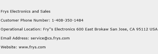 Frys Electronics and Sales Phone Number Customer Service