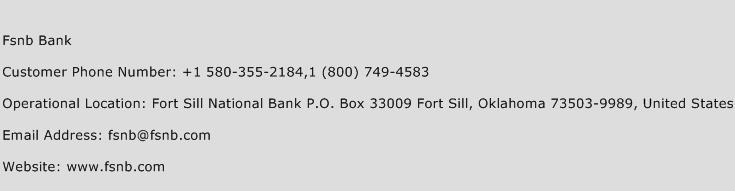 Fsnb Bank Phone Number Customer Service