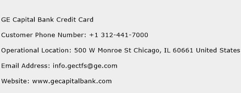 GE Capital Bank Credit Card Phone Number Customer Service