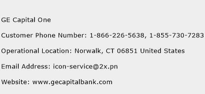 GE Capital One Phone Number Customer Service