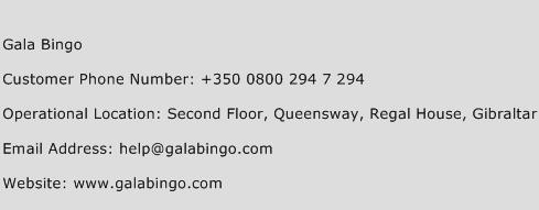 Gala Bingo Customer Service Phone Number