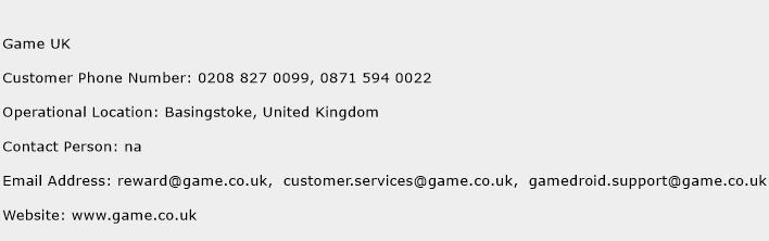 Game UK Phone Number Customer Service