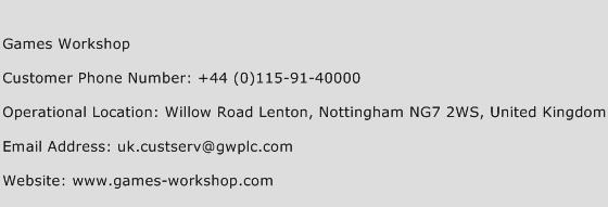 Games Workshop Phone Number Customer Service
