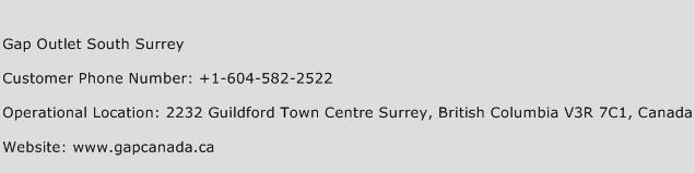Gap Outlet South Surrey Phone Number Customer Service