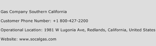Gas Company Southern California Phone Number Customer Service