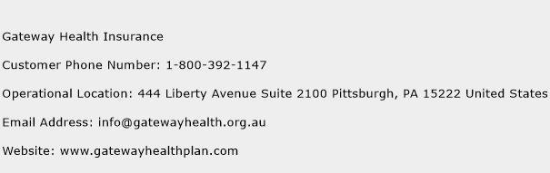 Gateway Health Insurance Phone Number Customer Service