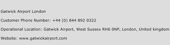 Gatwick Airport London Phone Number Customer Service