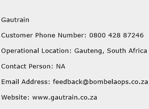 Gautrain Phone Number Customer Service