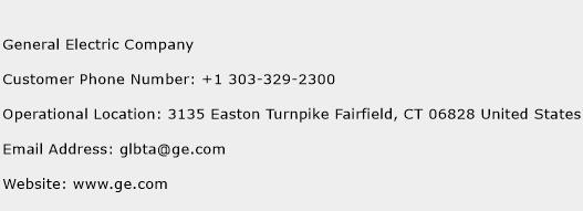 General Electric Company Phone Number Customer Service