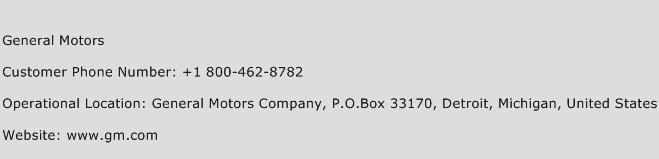 General Motors Phone Number Customer Service