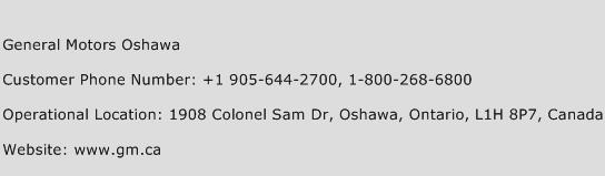 General Motors Oshawa Phone Number Customer Service