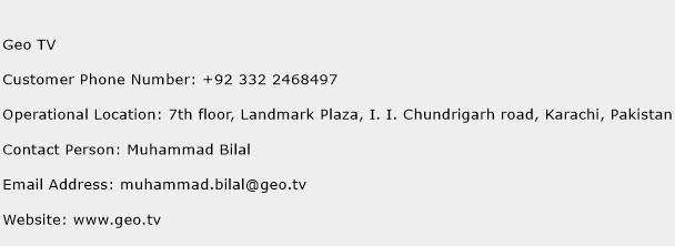 Geo TV Phone Number Customer Service