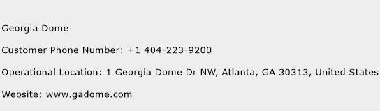Georgia Dome Phone Number Customer Service
