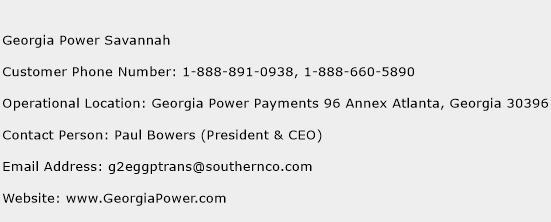 Georgia Power Savannah Phone Number Customer Service