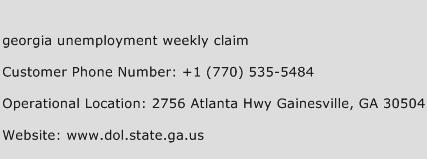 Georgia Unemployment Weekly Claim Phone Number Customer Service