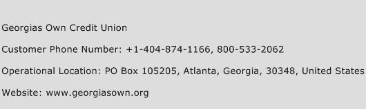 Georgias Own Credit Union Phone Number Customer Service