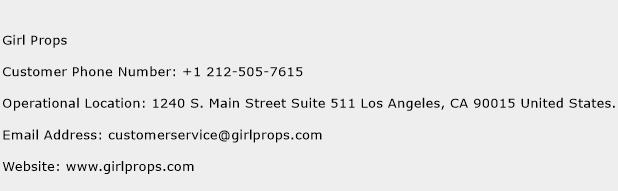 Girl Props Phone Number Customer Service