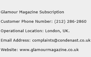 Glamour Magazine Subscription Phone Number Customer Service