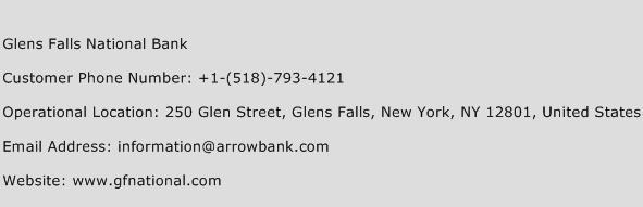Glens Falls National Bank Phone Number Customer Service
