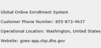 Global Online Enrollment System Phone Number Customer Service