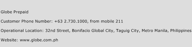 Globe Prepaid Phone Number Customer Service